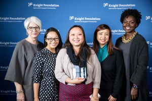 Hmong Museum awarded $20,000 from Knight Foundation. From left: Victoria Rogers (KF VP/Art), July Vang (HM Board), Mai Vang (HM Founder and Chair), Kathy Mouacheupao (HM VP), and Bahia Ramos (KF Arts Program Director) at the award Ceremony. Learn more about our project and award at http://goo.gl/OB5fhf